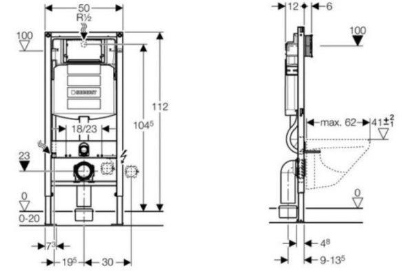 Geberit Duofix Sigma UP320 112H toilet set met Carosa One-Pack Design 48 cm