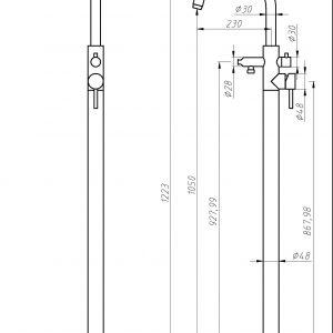 RVS Geborstelde vrijstaande Bad kraan 105 cm TA-Design