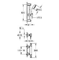 Grohe Grohtherm-800 comfortset m. douchekraan thermostatisch m. koppelingen HOH=15cm m. New Tempesta glijstangcombinatie 60cm chroom