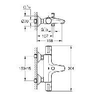 Grohe Grohtherm-800 badkraan thermostatisch m. omstel m. koppelingen HOH=15cm EcoJoy en volumegreep m. ecobutton chroom