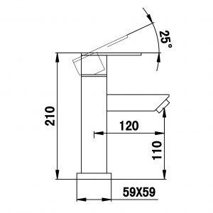 RVS Wastafelkraan Zwart 1800Z.38 TA-Design