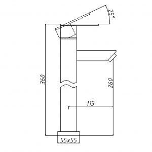 RVS geborstelde wastafelkraan hoog 36cm TA-Design