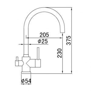 RVS-304 Cooker 3 functie Keukenkraan