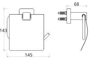 RVS-304 Square Toiletrol houder met klep