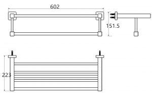 TA-Design RVS Handdoek Rek 60 cm Stuttgart 168 Square