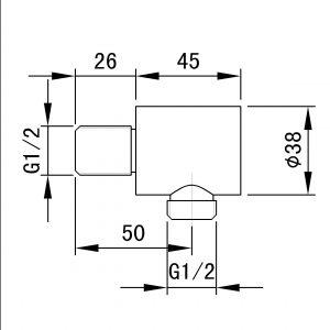 TA-Design RVS Douche connectormet wandaansluiting