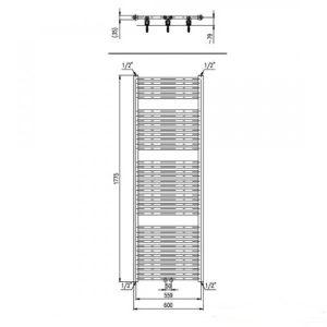 Designradiator horizontaal midden aansluiting 1775 x 600 mm 1019 Watt wit