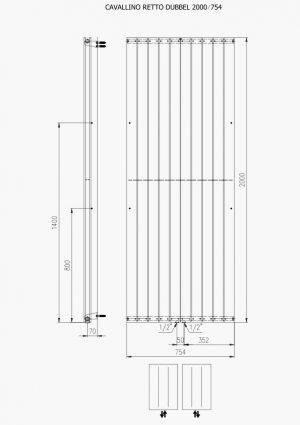 Designradiator verticaal Serie TIRA dubbel middenaansluiting 2000x754mm 2146W wit