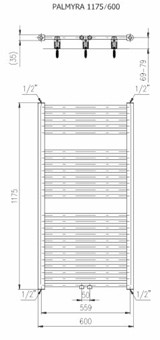 Designradiator horizontaal middenaansluiting 1175x600mm 681W wit