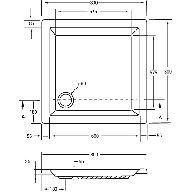 Kunststof douchebak acryl vierkant 80x80x5cm m. vierkante inzet wit