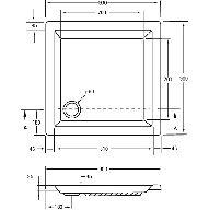 Kunststof douchebak acryl vierkant 90x90x5cm m. vierkante inzet wit