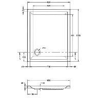 Kunststof douchebak acryl rechthoekig 100x80x5cm wit