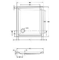 Kunststof douchebak acryl rechthoekig 90x80x5cm wit