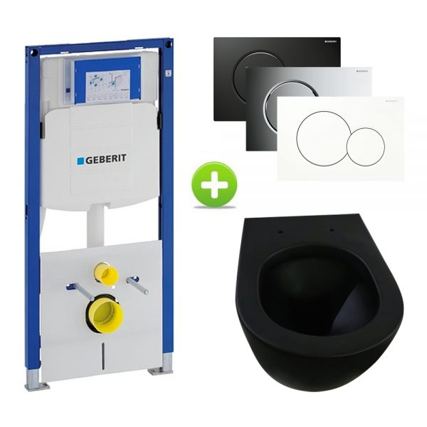 Geberit UP320 Toiletset, Brogali Design - MAT ZWART